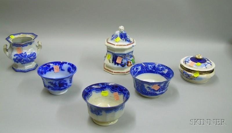 Three Staffordshire Waste Bowls and Three Sugar Bowls.
