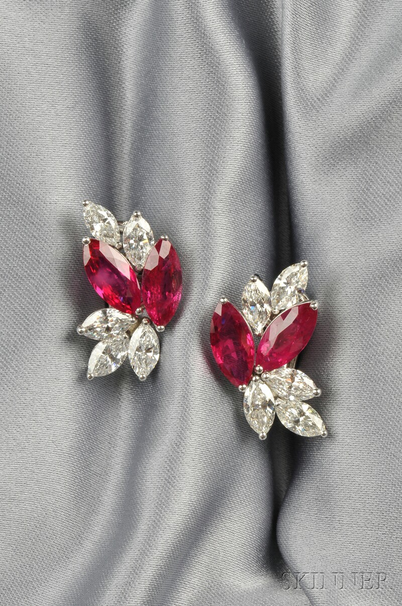 Platinum, Ruby, and Diamond Earclips, Aletto Bros.