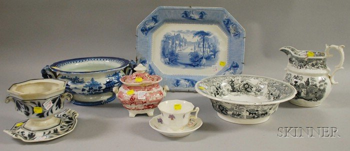 Nine Pieces of Assorted English Mostly Transfer-decorated Staffordshire Tableware