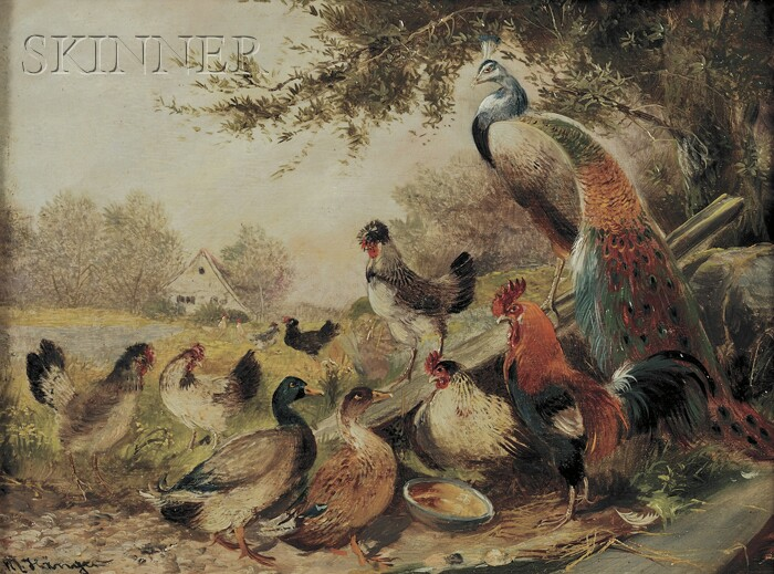 Max Hänger, Jr. (German, 1898-1961)      Scene with Roosters, Ducks, Chickens, and Peacock
