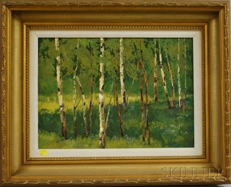 Attributed to Mark Kremer (Russian, b. 1928)      Birch Trees in Summer