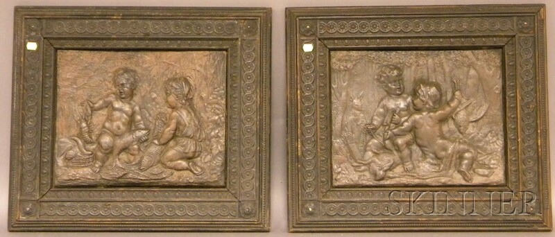 Two Composition Figural Plaques