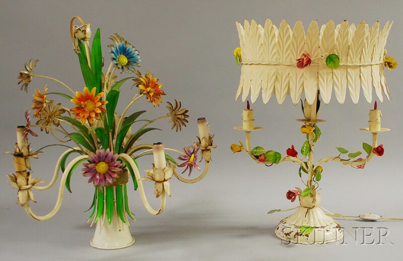 Two Pieces of Vintage Italian Polychrome-painted Metal Floral-form Lighting