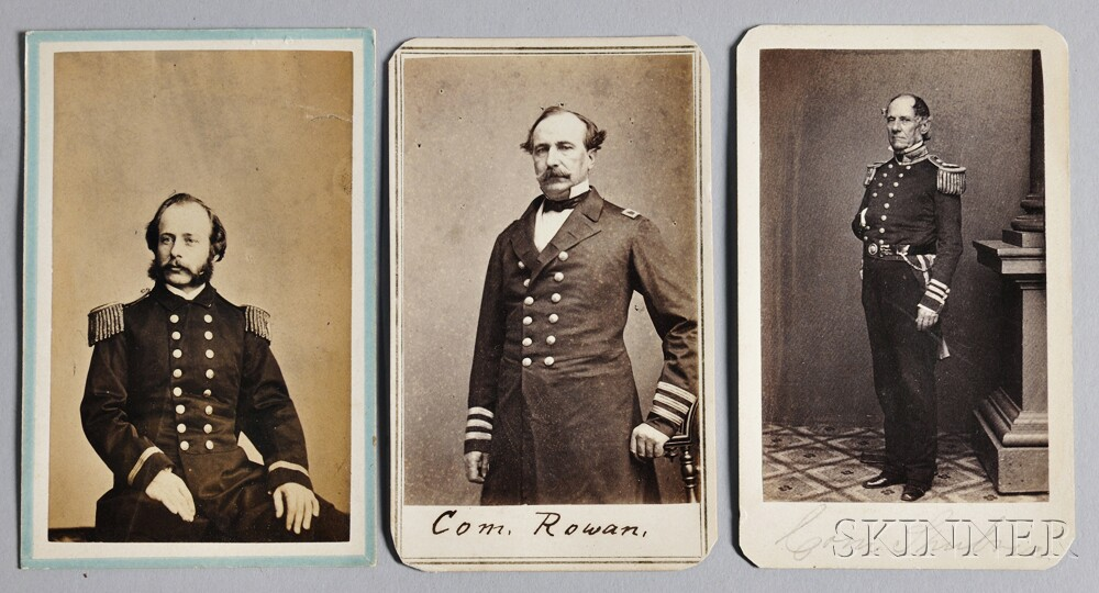 Three Carte De Visite Photographs Of 19th Century Naval Officers