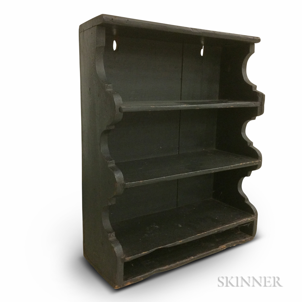 Green-painted Pine Shaped-end Wall Shelf