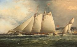James Edward Buttersworth (American, 1817-1894)  Yacht Columbia.