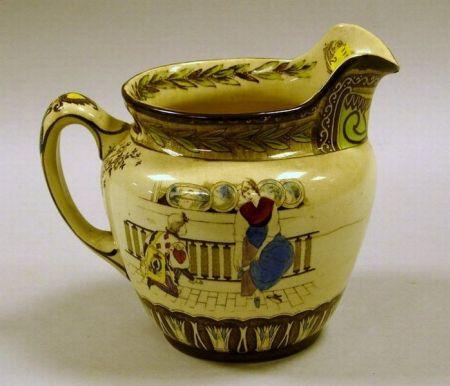Buffalo Pottery Transfer and Handpainted Cinderella Pattern Ceramic Pitcher