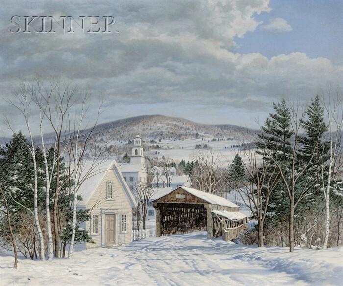 Carl Wuermer (American, 1900-1981)      Village in Winter