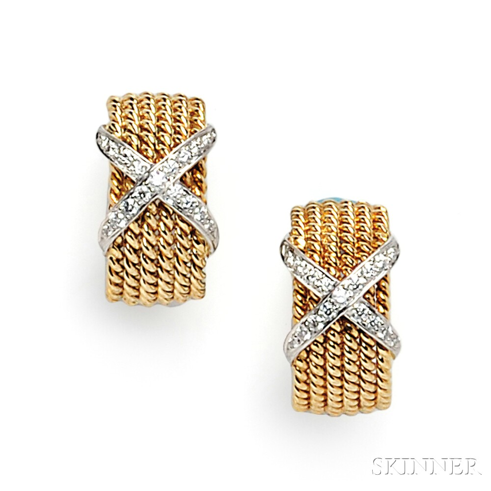 "18kt Gold and Diamond ""Rope"" Earclips, Schlumberger, Tiffany & Co."