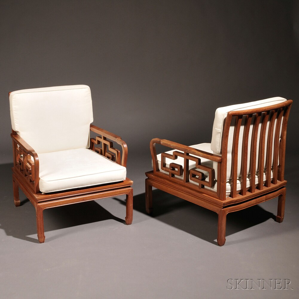 Mid Century Modern Lounge Chairs: Pair Of Mid-Century Modern Asian-inspired Lounge Chairs