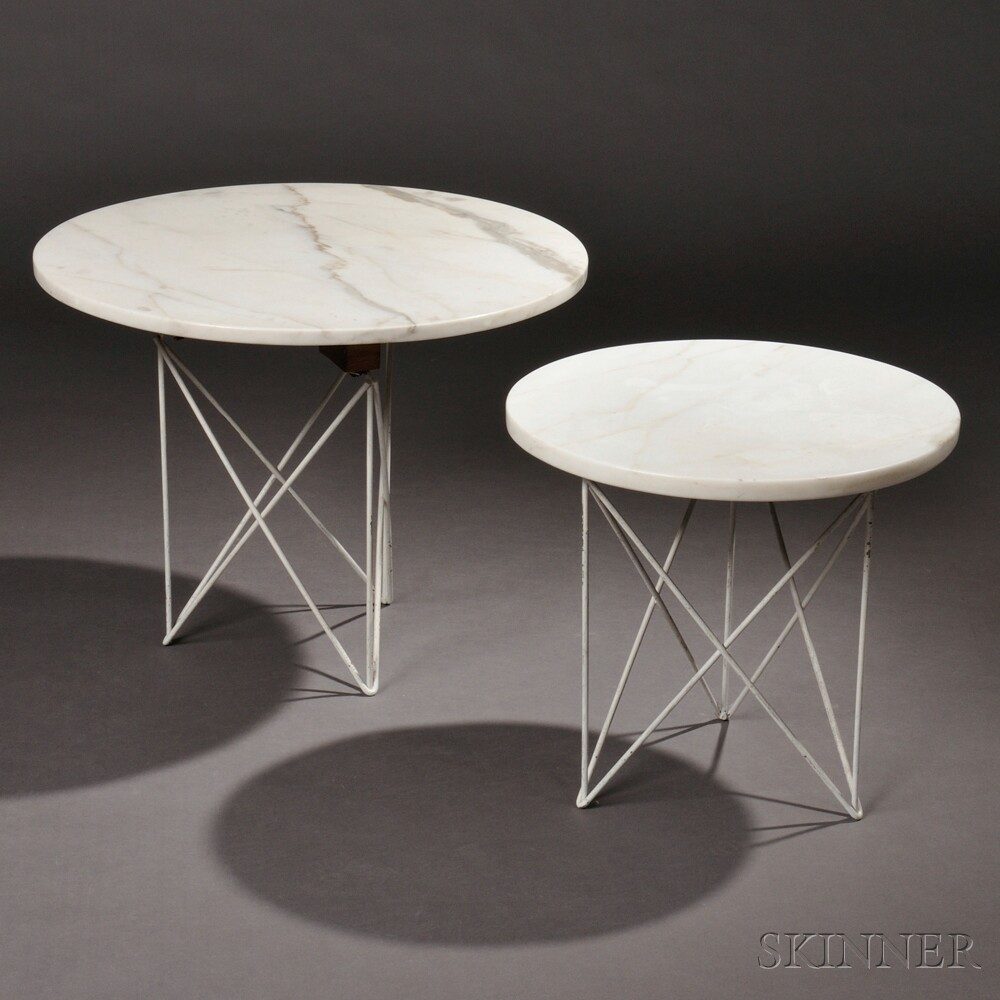 Two Marble-top Side Tables Attributed to L. Garth Huxtable