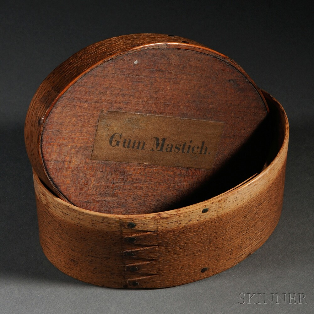 Shaker Covered Oval Box Labeled