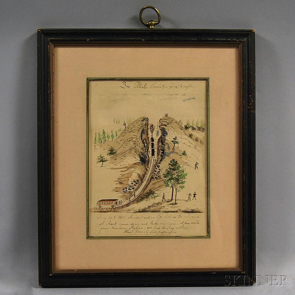 Framed Sketch of a Railroad Scene
