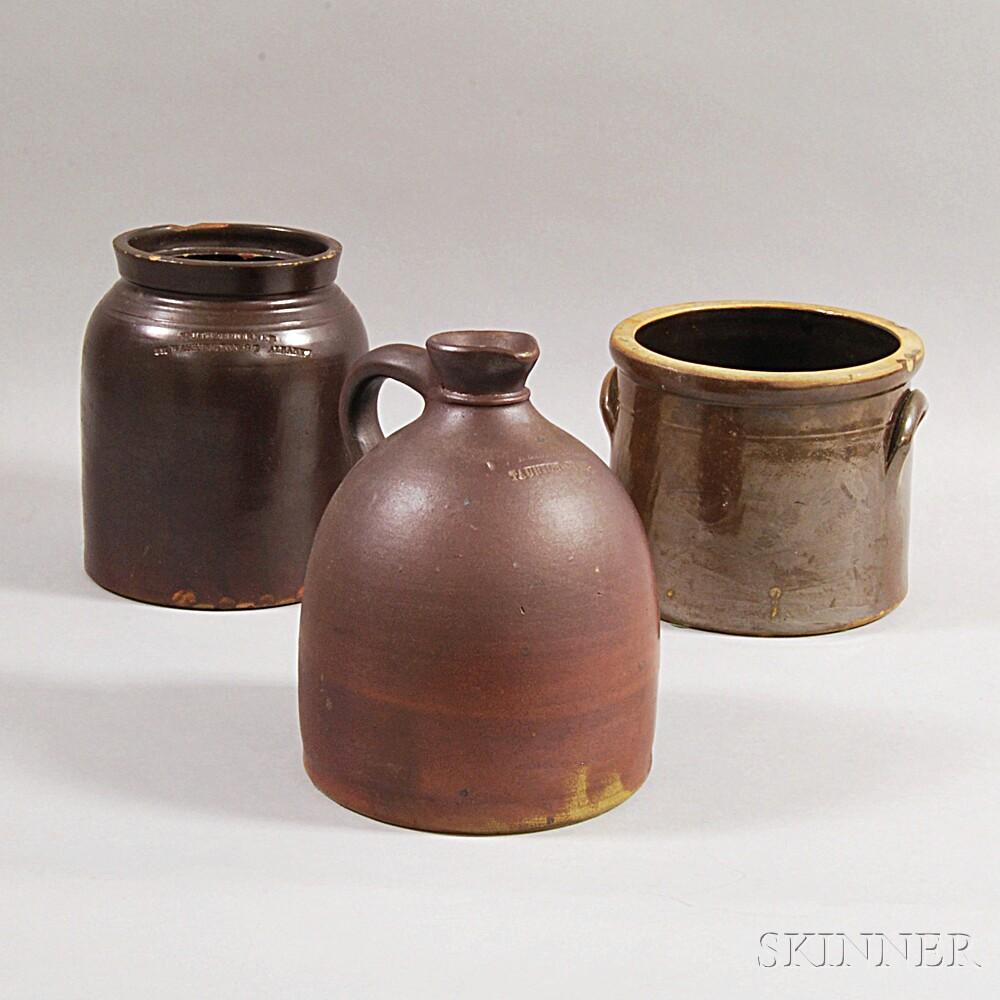 Three Brown-glazed Stoneware Vessels