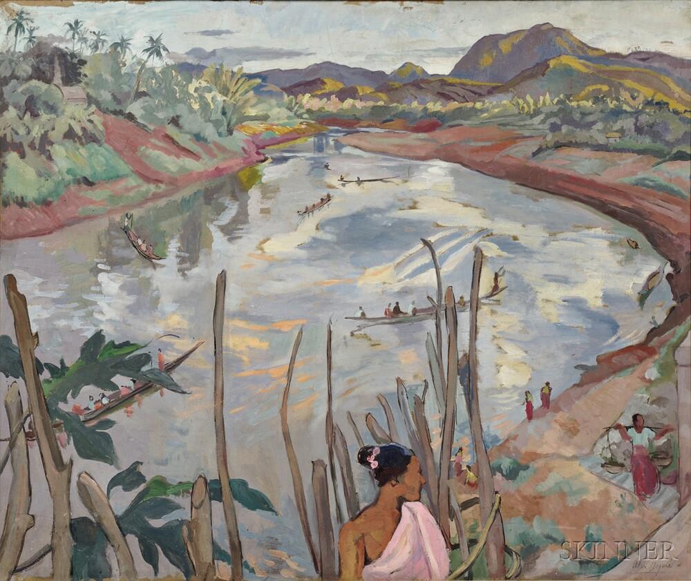 Alix Ayme (1894-1989), River Landscape of Luang Prabang, Laos