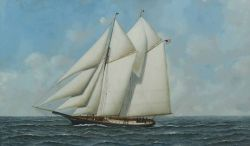 Antonio Jacobsen (American, 1850-1921)  Portrait of the Yacht Marguerite.