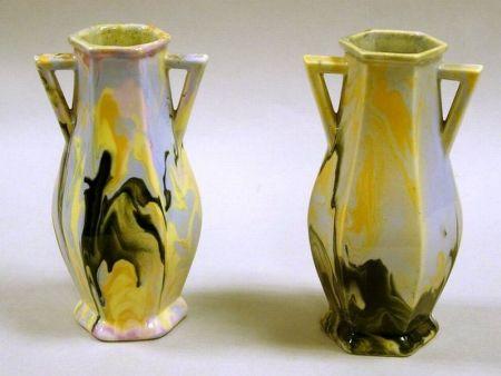 Pair of Mueller Pottery Swirl Glazed Ceramic Vases.