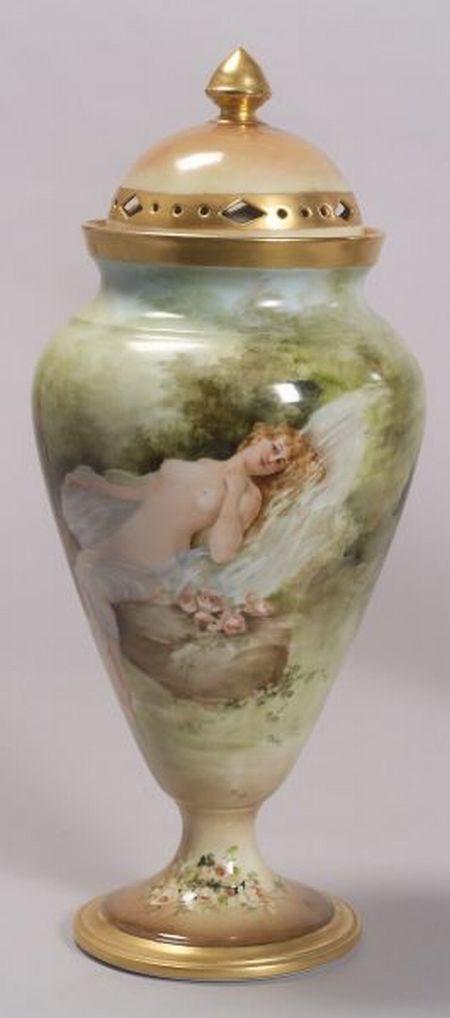 Limoges Porcelain Handpainted Potpourri Vase and Cover