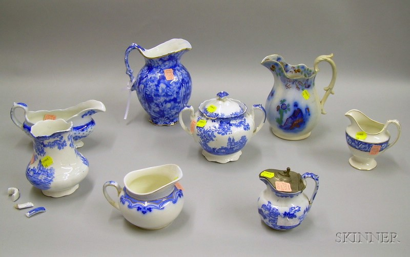 Eight Pieces of English Transfer and Flow Blue Staffordshire Tableware