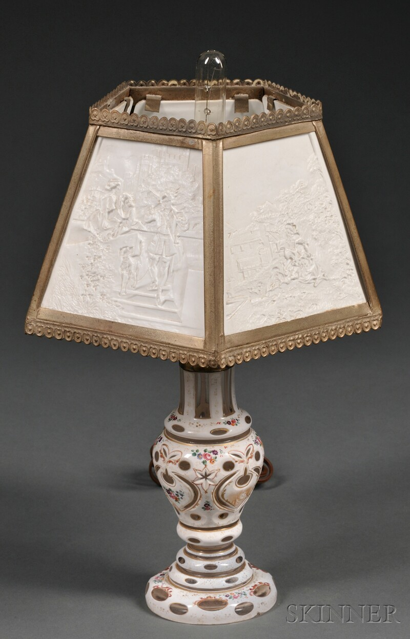 Bohemian White Cased Glass Lamp with Lithophane Shade