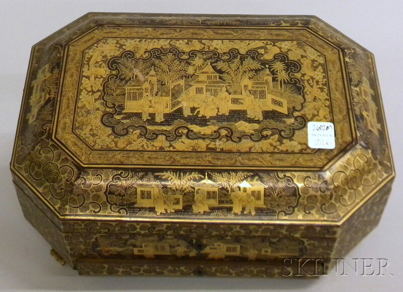 Chinese Export Gilt-decorated Black Lacquer Sewing Box with Contents.     Estimate $300-500