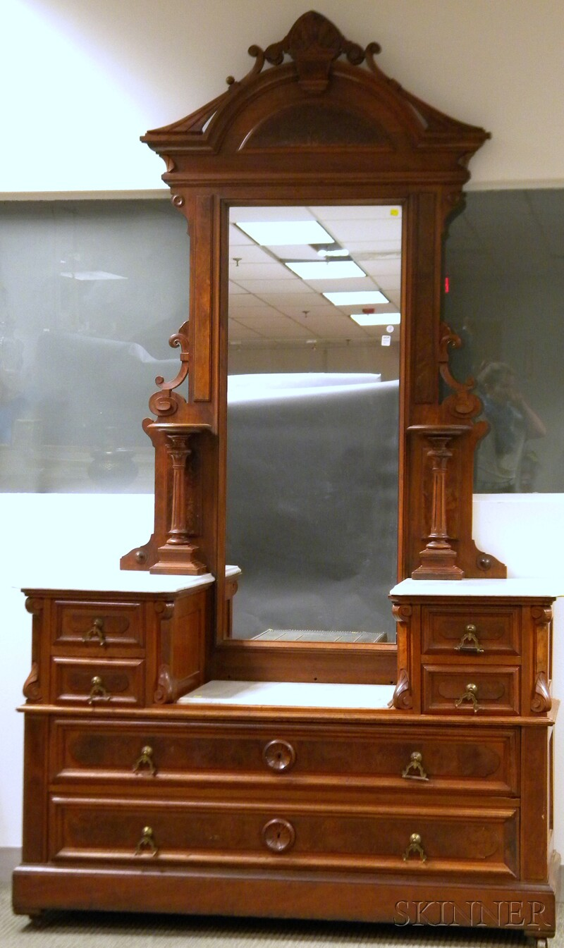 Victorian Renaissance Revival White Marble-top Carved Walnut Drop-well Mirrored Dresser.