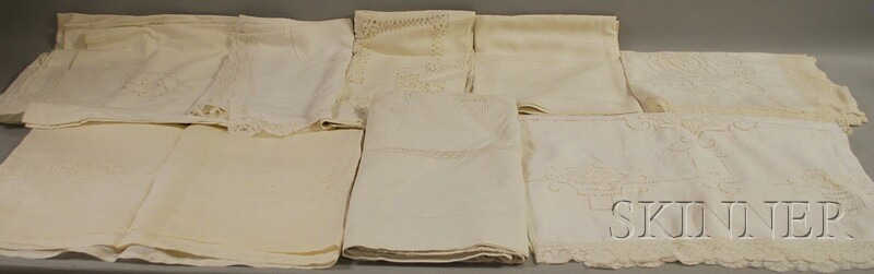 Box of Assorted Antique and Vintage Linens