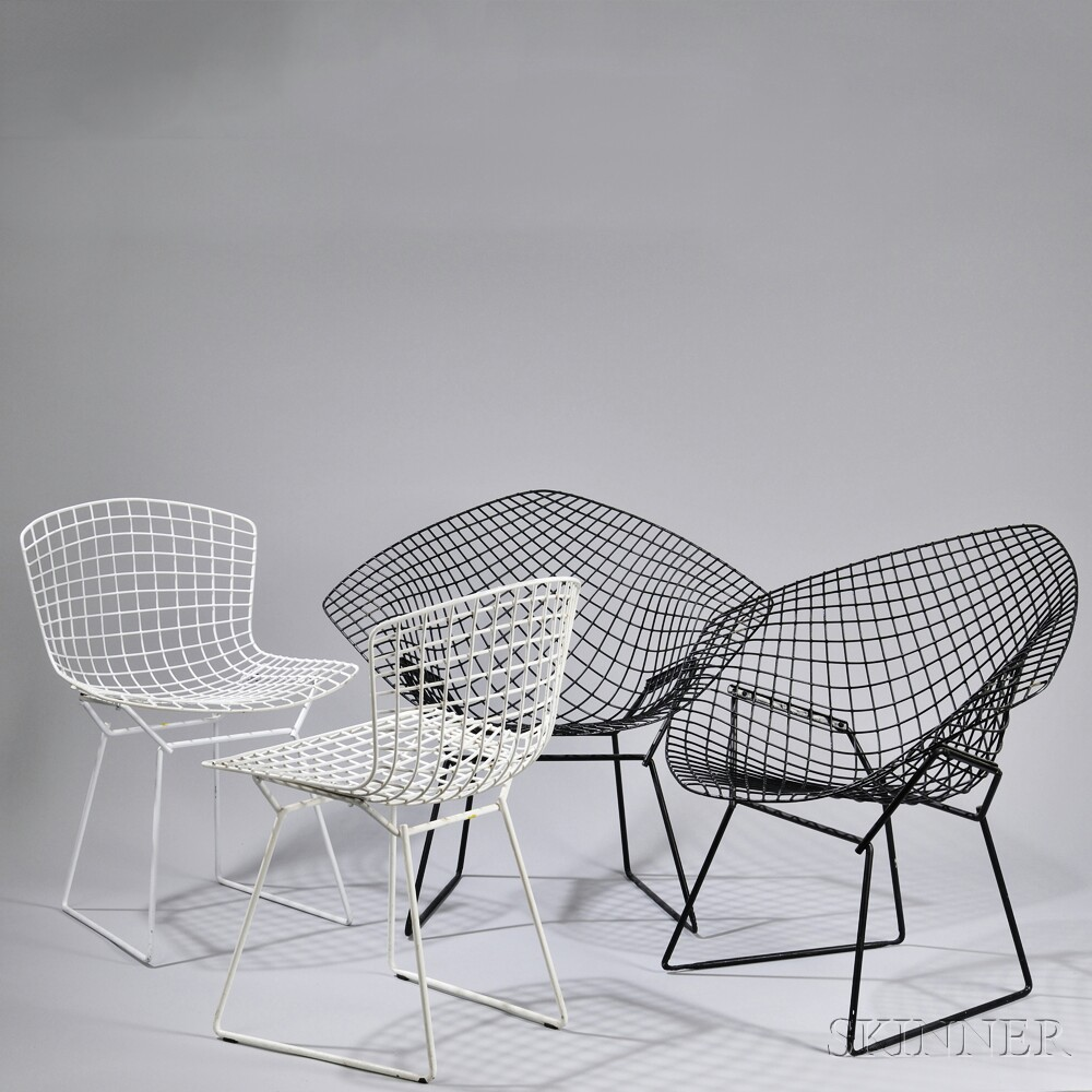 Four Painted Steel Harry Bertoia Chairs, United States, Two Armchairs In  Black And Two White Armless Chairs, All Constructed Of Steel W