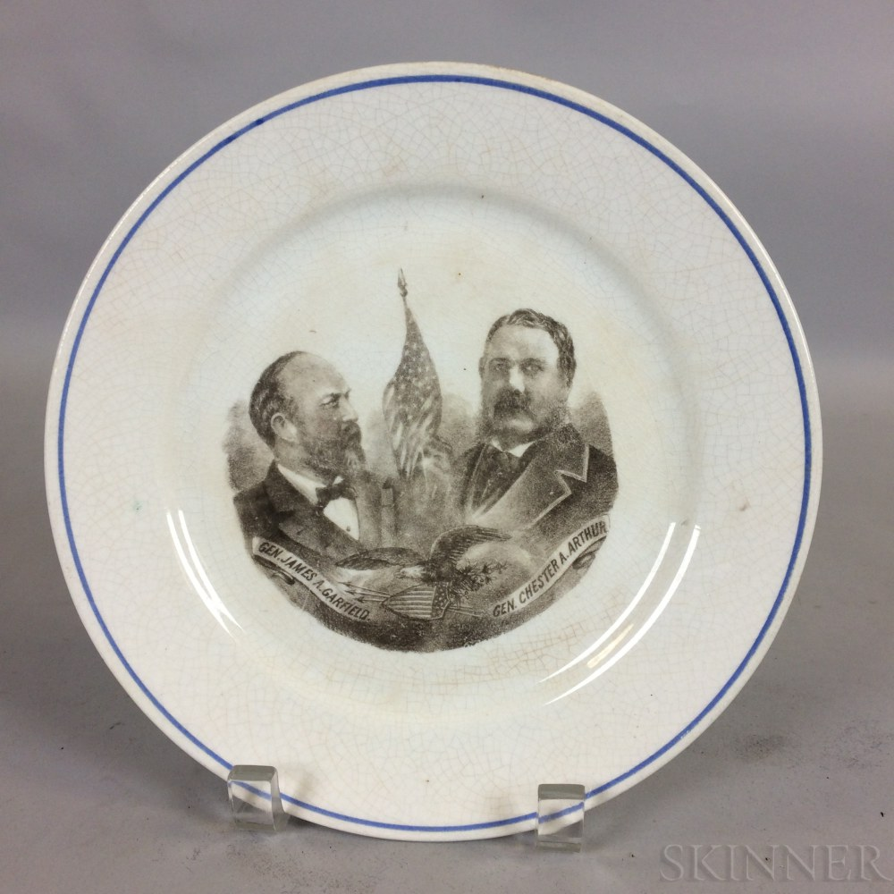 James Garfield and Chester A. Arthur Transfer-decorated Ironstone Plate