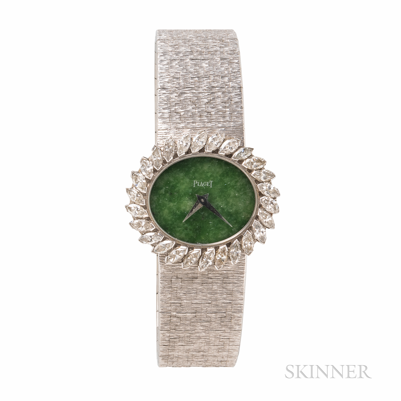 Piaget 18kt White Gold, Green Hardstone, and Diamond Wristwatch