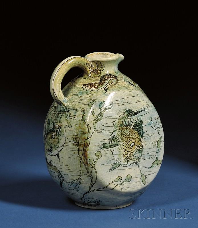 Martin Brothers Glazed Stoneware Fish Jug