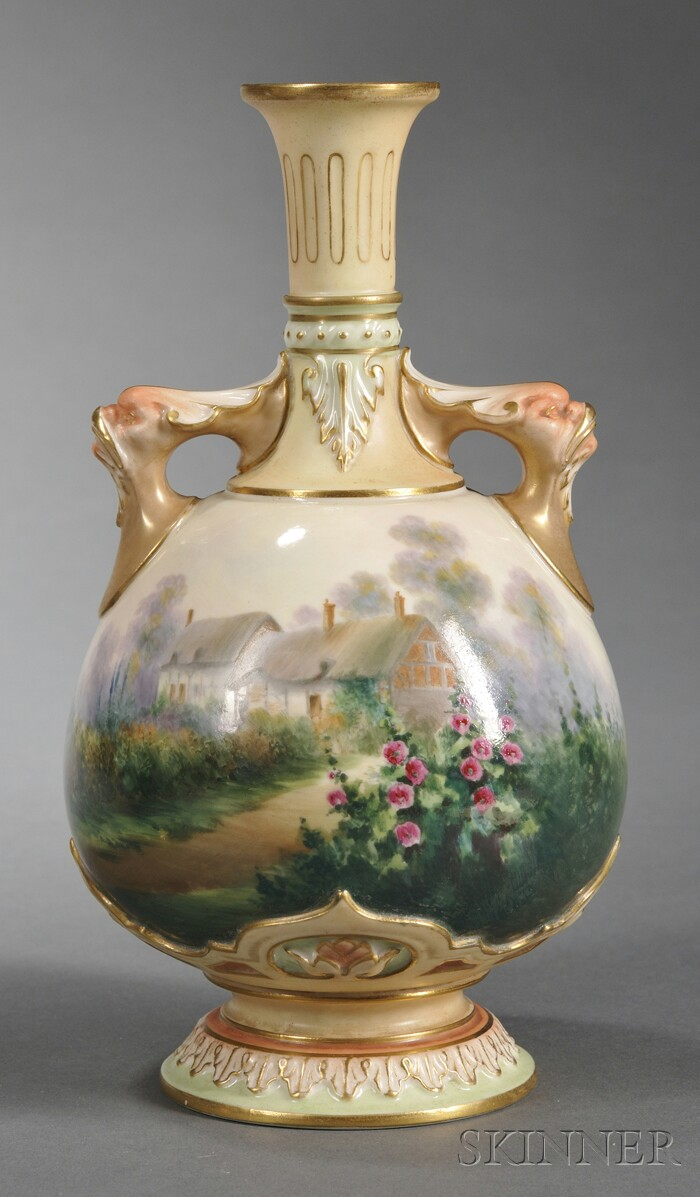 Royal Worcester Porcelain Hand-painted Vase