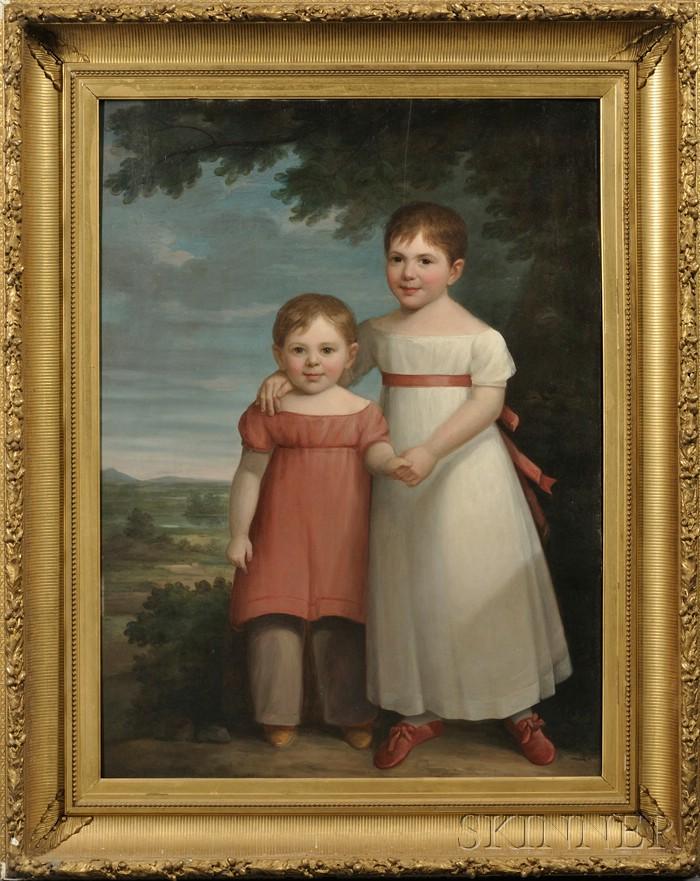 American School, 19th Century      Portrait of Two Children in a Landscape.