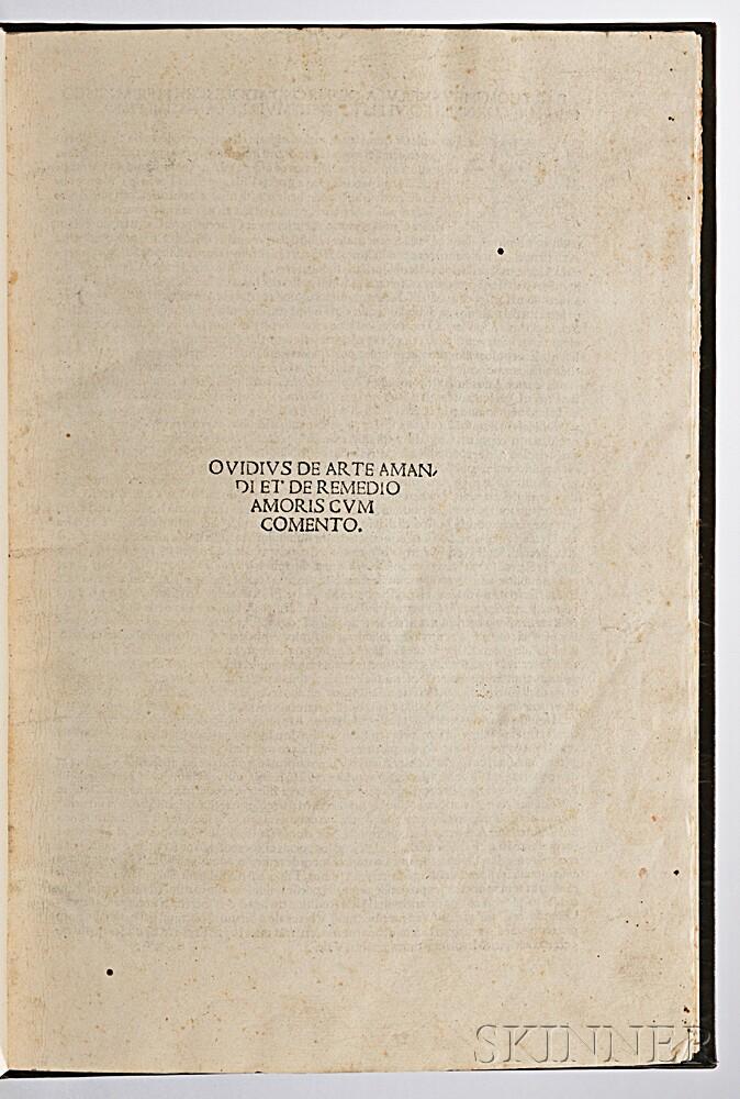 Ovid (43 B.C.- 17? A.D.) Bartholomaeus Merula, editor. De Arte Amandi et De Rememdio Amoris cum Comento.