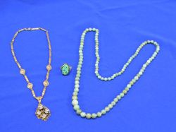 Chinese Jadeite Ring, Jadite Graduated Bead Necklace, and a Victorian-style Gilt Necklace.