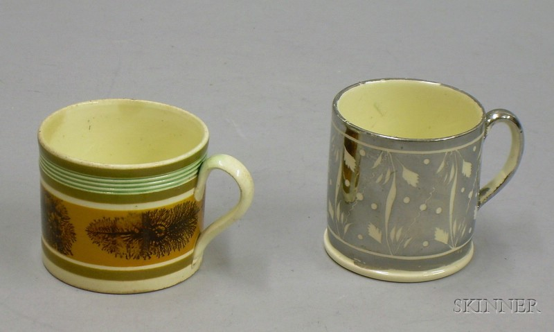 Childs Seaweed Decorated Mochaware Mug and an English Silver Lustreware Mug.