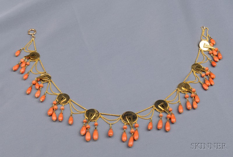 Antique 18kt Gold, Coral, and Enamel Necklace
