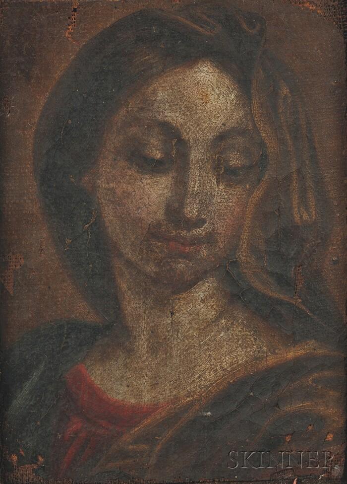 Italian School, 17th Century Style      Head of the Virgin