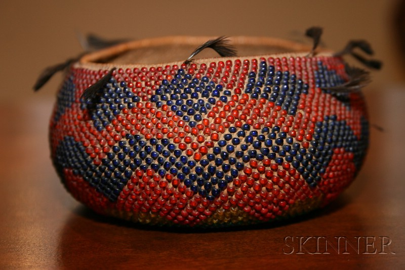 Small Pomo Beadwork and Feather Basketry Bowl