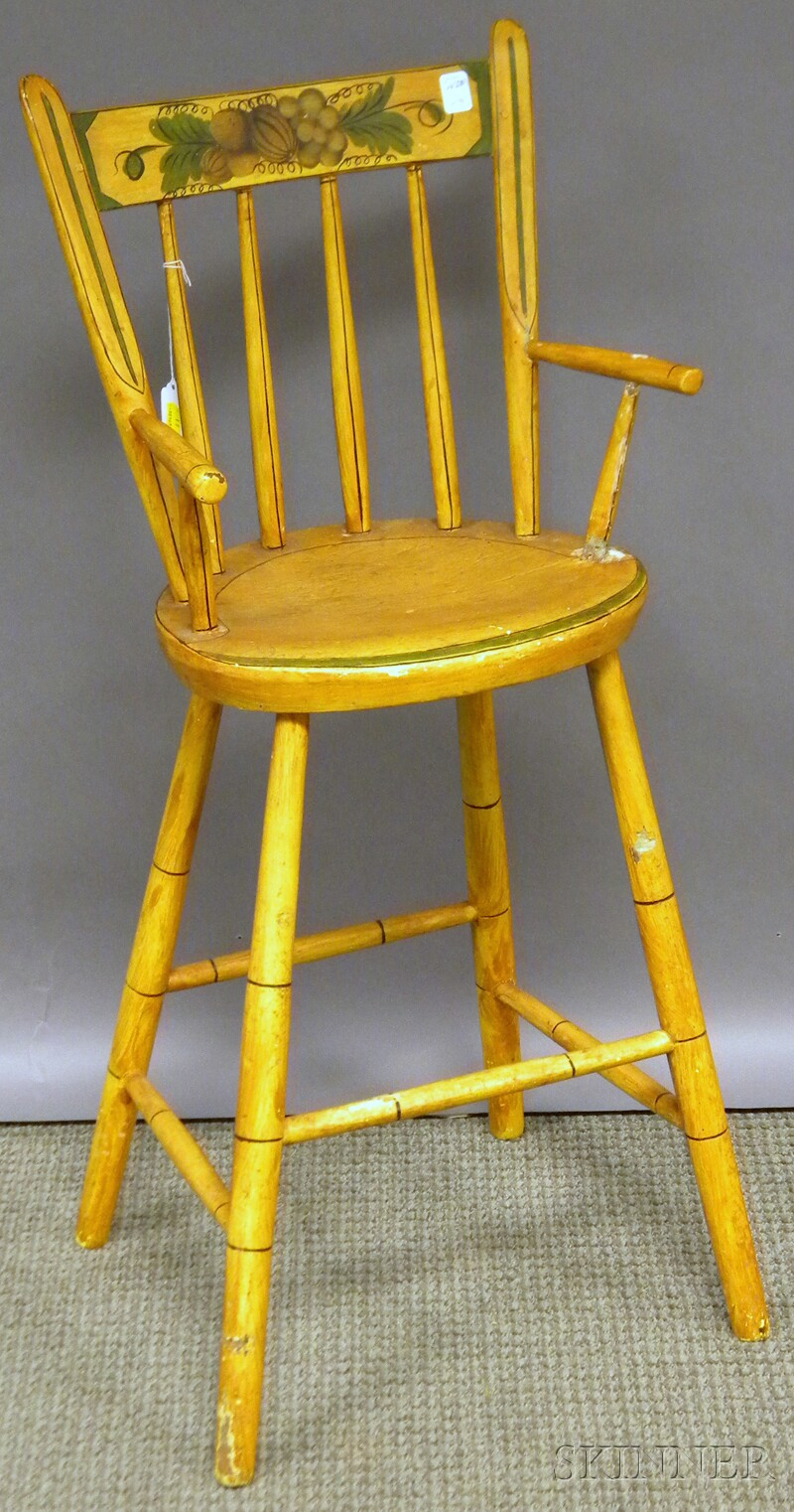 Yellow-painted and Decorated Windsor Thumb-back High Chair.