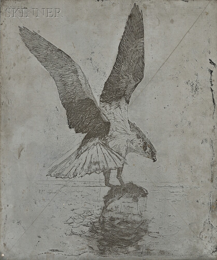 Frank Weston Benson (American, 1862-1951)      The Canceled Zinc Plate for the Etching Fish Hawk