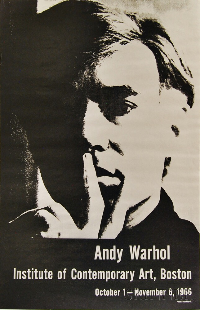 After Rudy Burckhardt (Swiss/American, 1914-1999)      Andy Warhol Exhibition Poster, Institute of Contemporary Art, Boston