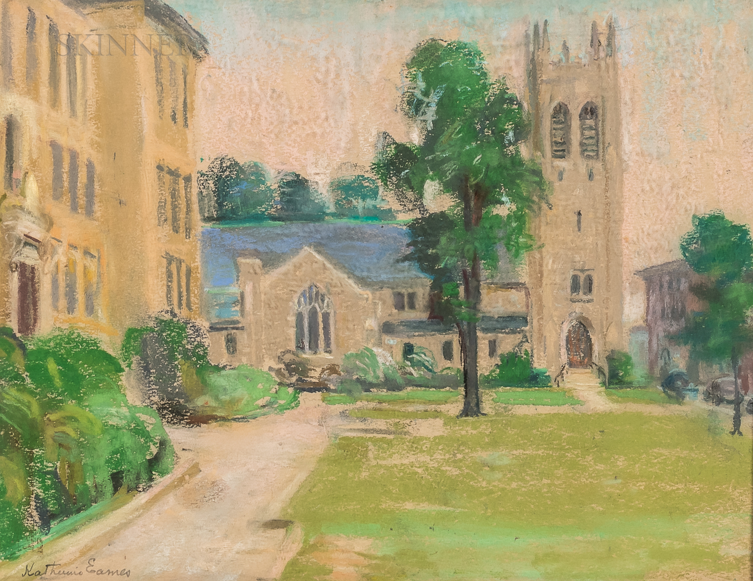 Two Works:      Katherine Eames (American, 20th Century), View of Grace Church (with Danforth Building)