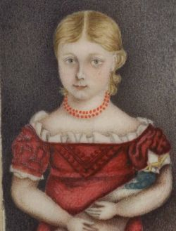 American School, 19th Century  Miniature Portrait of a Girl Holding a Doll.