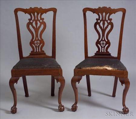 Pair of Mahogany Carved Side Chairs