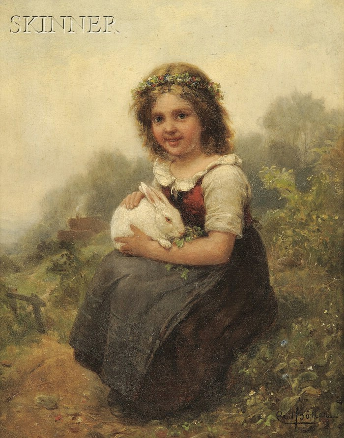 Carl Böker (German, 1836-1905)      Portrait of a Young Girl Seated with a Rabbit
