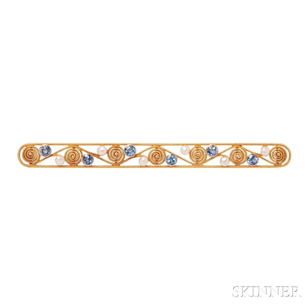 Antique 14kt Gold, Sapphire, and Pearl Bar Pin, Krementz & Co.