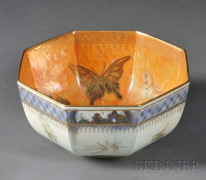 Octagonal Wedgwood Butterfly Lustre Bowl