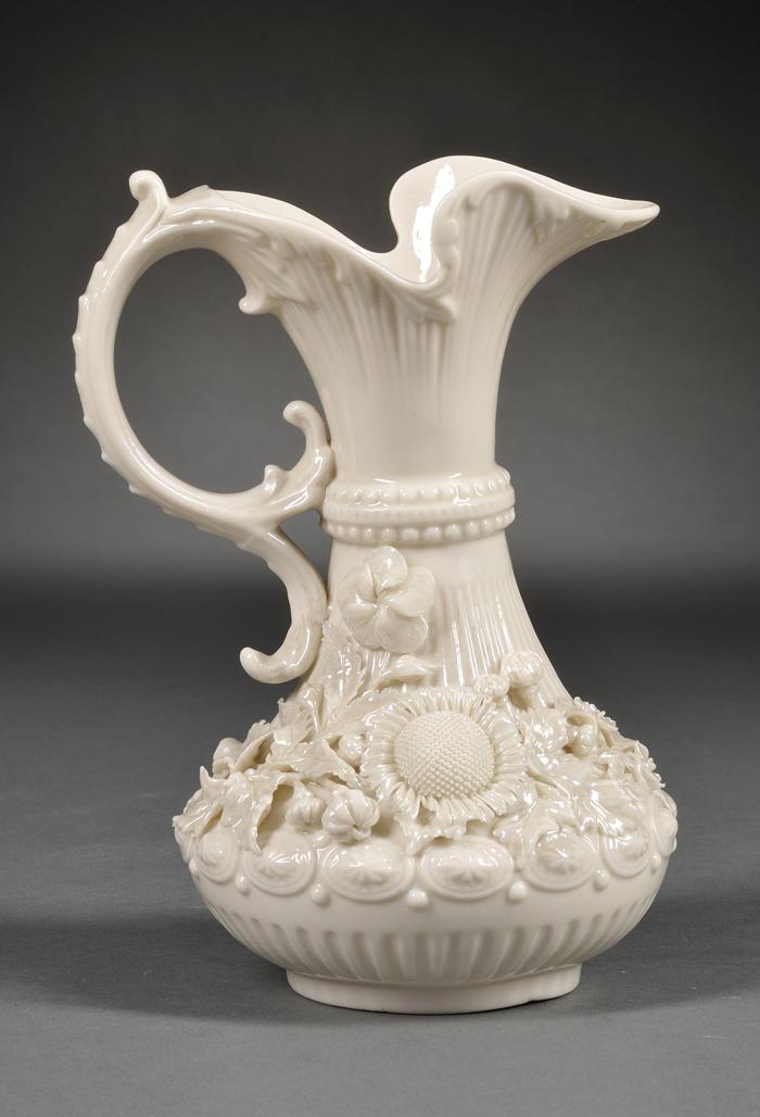 Belleek Porcelain Aberdeen Pitcher and a Footed Rathmore Flowerpot