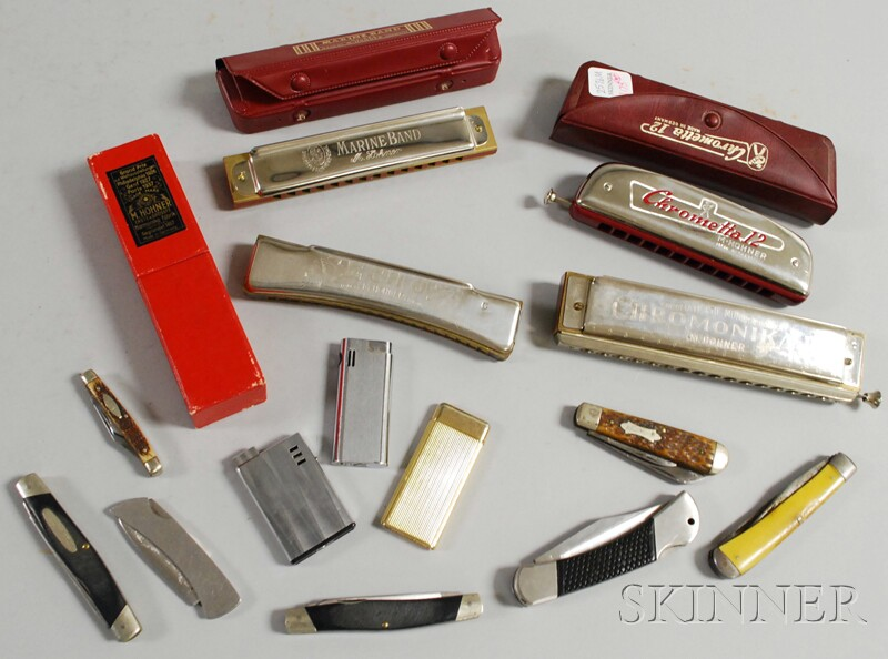 Group of Collectible Lighters, Small Knives, and Harmonicas